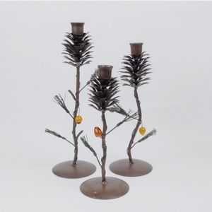 3 Decorative Metal Pine Cone Candlesticks
